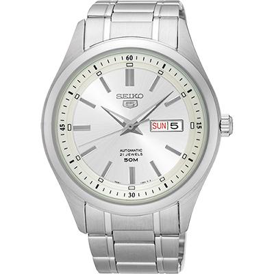 SEIKO 精工 5號盾牌日曆機械腕錶(SNKN85J1)-銀/42mm