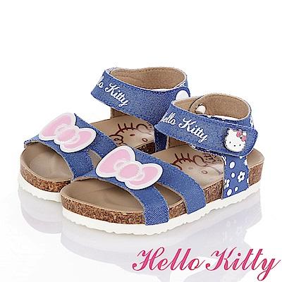 HelloKitty 牛仔布系列 個性舒適吸震防滑休閒涼鞋童鞋-水