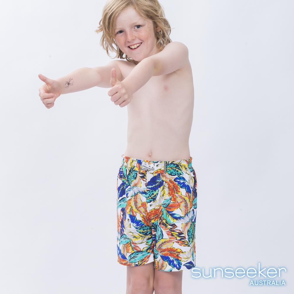 澳洲Sunseeker泳裝抗UV防曬衝浪泳褲-大男童泳褲/叢林白