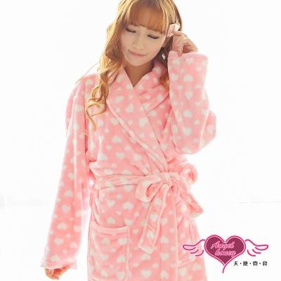 天使霓裳 滿心甜愛 居家柔軟法蘭絨綁帶睡袍(粉白F)