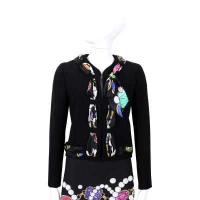BOUTIQUE MOSCHINO 黑色印花絲巾滾邊設計外套