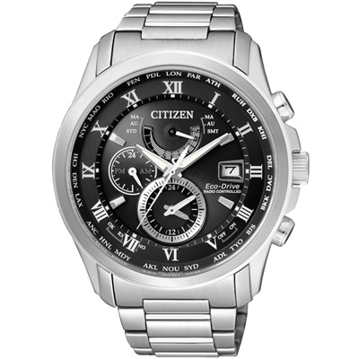 CITIZEN 霸氣世界 電波萬年曆光動能腕錶(AT9080-57E)-黑/43mm