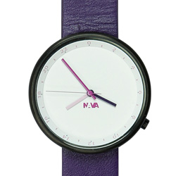NAVA DESIGN Wherever 雙時區腕錶-紫/39mm