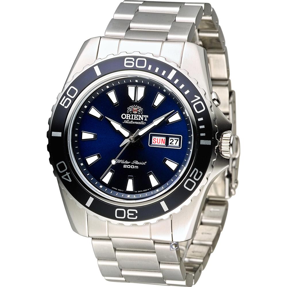 ORIENT 200米怒海潛將潛水錶(FEM75002D)藍/44mm