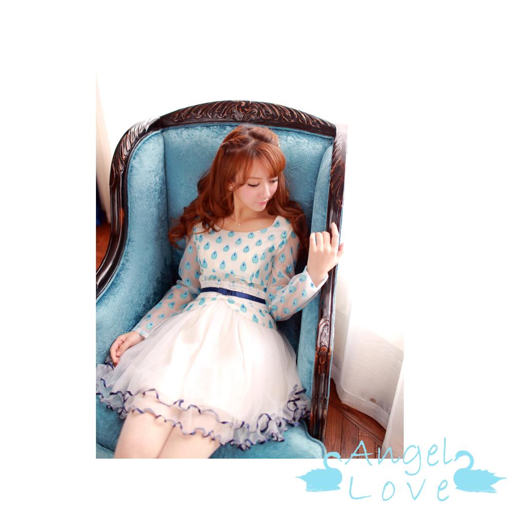 【Angel Love】水滴點點優雅拼接網紗洋裝 (藍色)