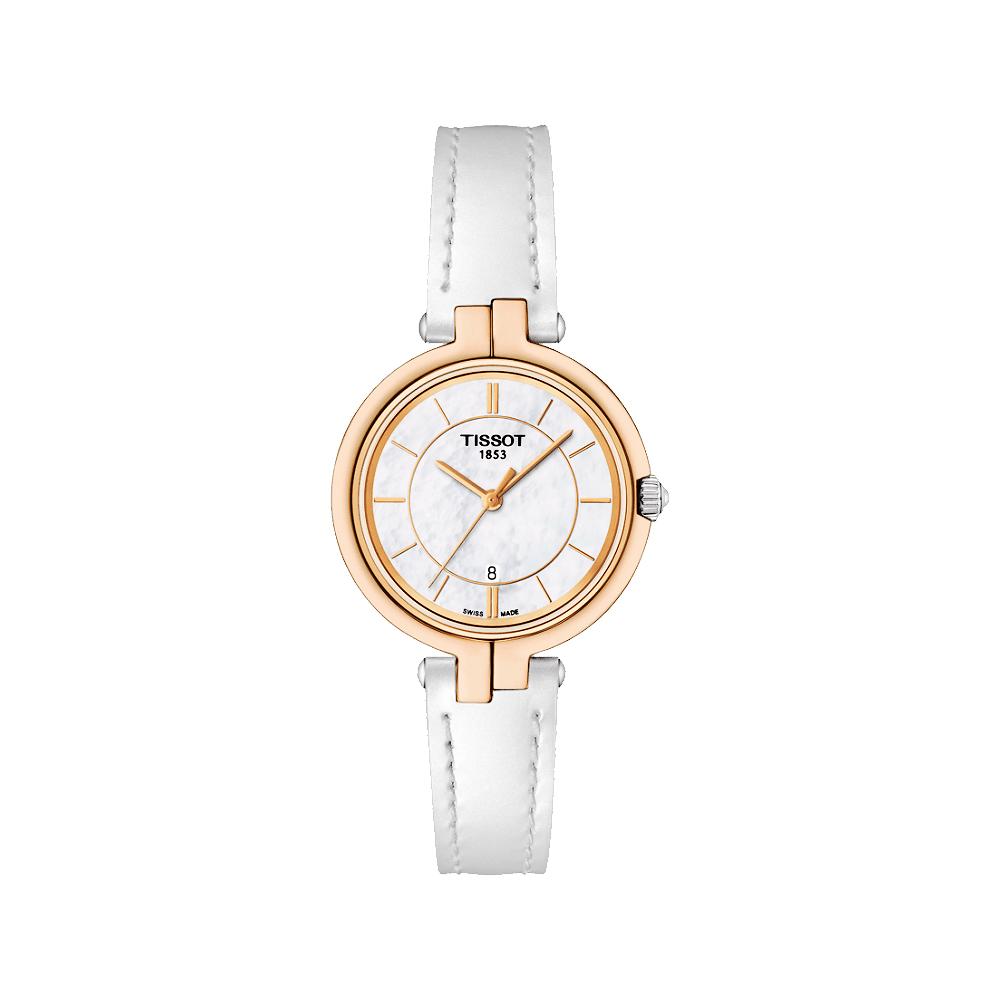 TISSOT 天梭 Flamingo 經典純粹石英女錶-珍珠貝x白/26mm