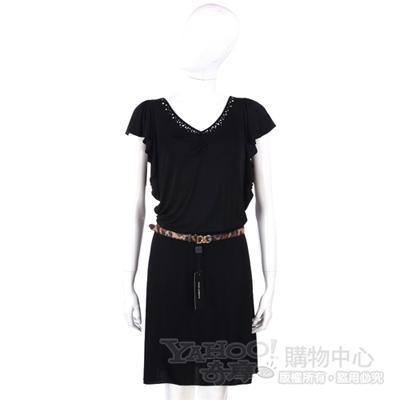BLUGIRL 黑色荷葉袖洋裝(不含腰帶) @ Y!購物