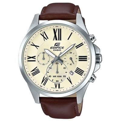 EDIFICE 經典羅馬時刻大錶面時尚皮帶腕錶(EFV-500L-7A)白面/48mm