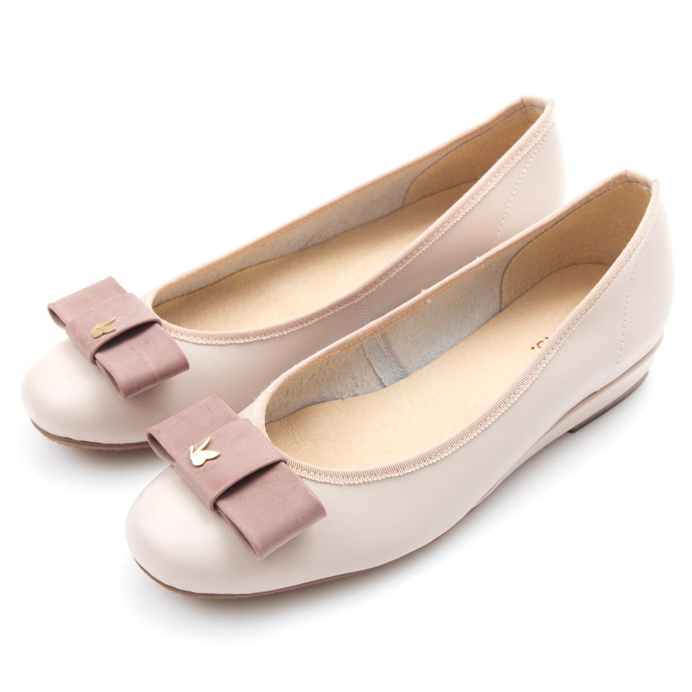 G.Ms. MIT系列-麂皮絨蝴蝶飾釦小坡跟鞋-淡柔粉