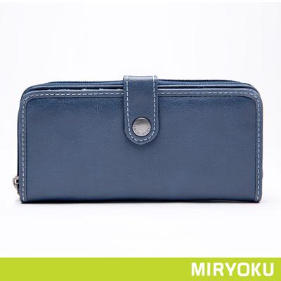 MIRYOKU自然休閒系列-氣質簡約多夾層長夾-藍