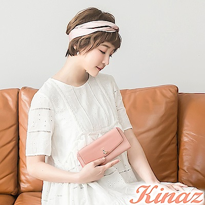 KINAZ 甜美記憶ㄇ字型長夾-浪漫粉-鑰匙系列