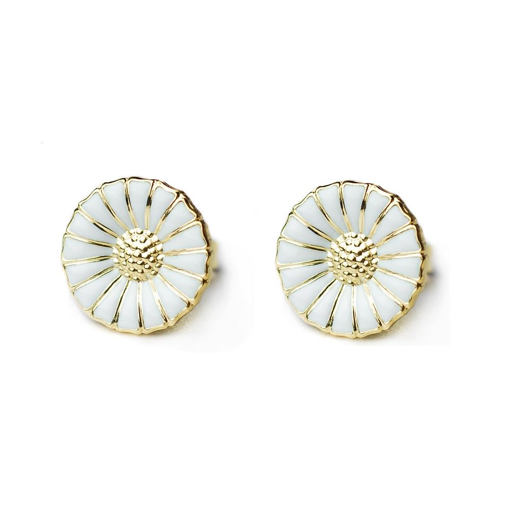 Georg Jensen Daisy 純銀鍍K金+白琺瑯雛菊針式耳環