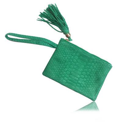 ACUBY 限量單品手工蟒蛇皮手拿包/湖水綠