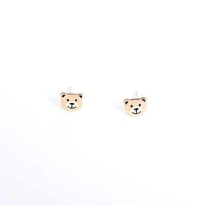 微醺禮物 正韓 低過敏 鋼針 鋼飾 微笑小熊 白嘴巴 耳針 耳環