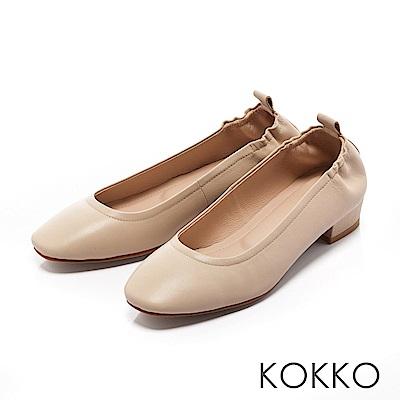KOKKO - 輕甜好感真皮方頭素面粗跟鞋-雅緻米