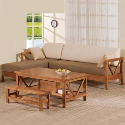 Boden-奇爾實木L型沙發椅組 (L型+大茶几)-左型