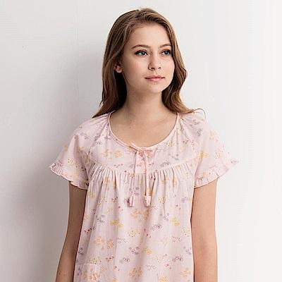 羅絲美睡衣 - 繽紛花季短袖洋裝睡衣(胭脂粉)