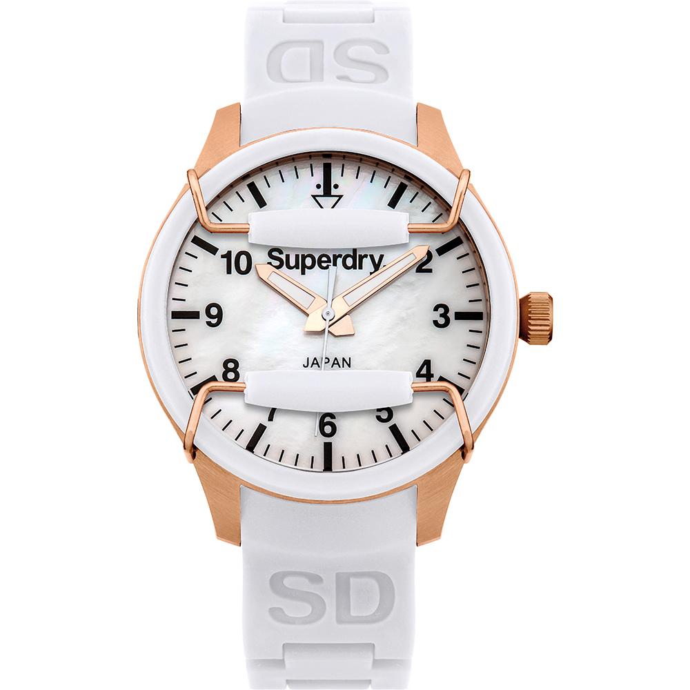 Superdry極度乾燥活力潮流時尚手錶-珍珠貝X白/38mm