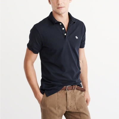 A&F 經典刺繡麋鹿短袖Polo-深藍色 AF Abercrombie