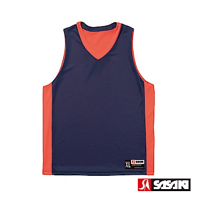 SASAKI 雙面穿長效性吸排V領籃球背心-男-淺丈青/桔紅