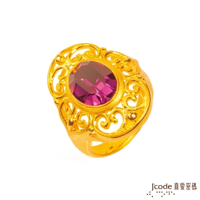 J'code真愛密碼 經典璀璨黃金/施華洛世奇水晶戒指-紫