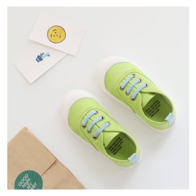玩弄色彩搭配款四季兒童帆布鞋-果綠