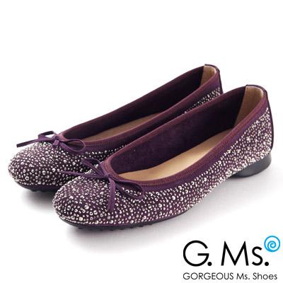 G.Ms.MIT系列‧手工燙鑽蝴蝶結平底娃娃鞋‧貴婦紫