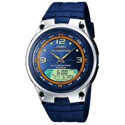 CASIO 多功能狩獵雙顯膠帶錶(AW-82-2A)-藍/40mm