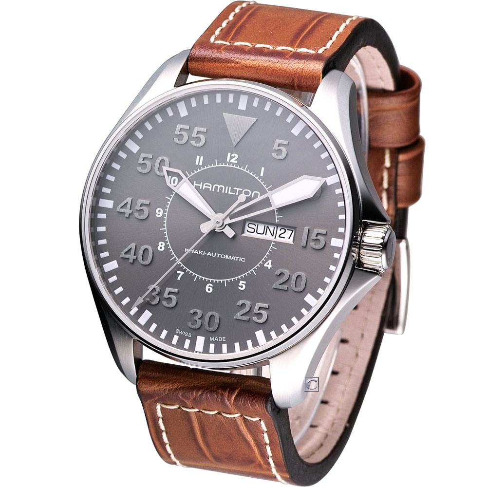 (無卡分期12期)HAMILTON Khaki Pilot 航空飛行機械腕錶-灰/46mm