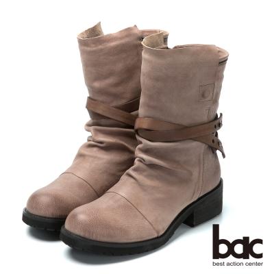 bac流行時尚 率性風格真皮靴-灰