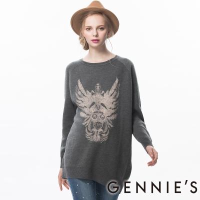 Gennies奇妮-個性圖印針織秋冬長版上衣(TSA02)-灰