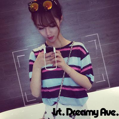 色彩粗細條紋圓領針織衫 (共二色)-1st. Dreamy Ave.