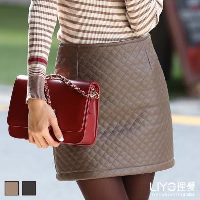 LIYO理優韓系格紋皮裙窄裙-棕-黑