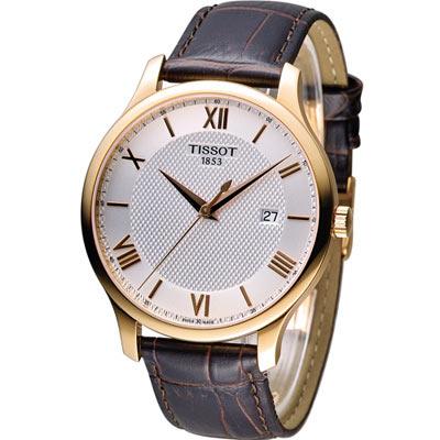 天梭 TISSOT Tradition系列 懷舊古典腕錶-銀x玫瑰金框/42mm