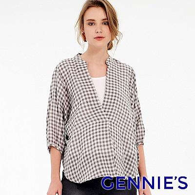 Gennies專櫃-純棉條紋立領燈籠袖哺乳衣(T3F05)灰白格