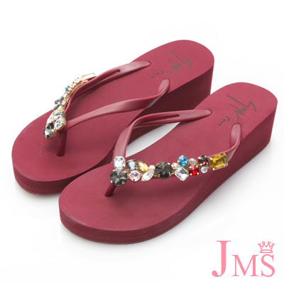 JMS-閃耀造型彩鑽厚底夾腳楔型海灘拖-紅色