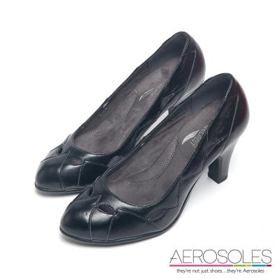 AEROSOLES-原色真皮幾何尖頭高跟鞋-墨黑