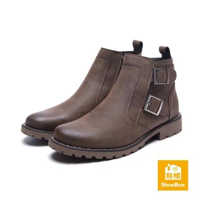 鞋櫃ShoeBox-男鞋-短靴-雙扣帶霧面短靴-駝