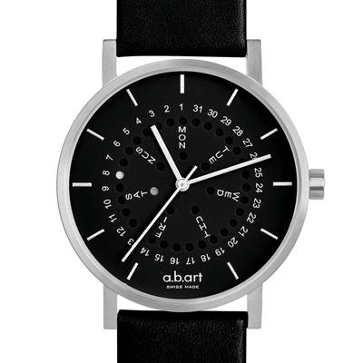 a.b.art O系列 經典日期星期圓盤跳點腕錶-黑/40.5mm