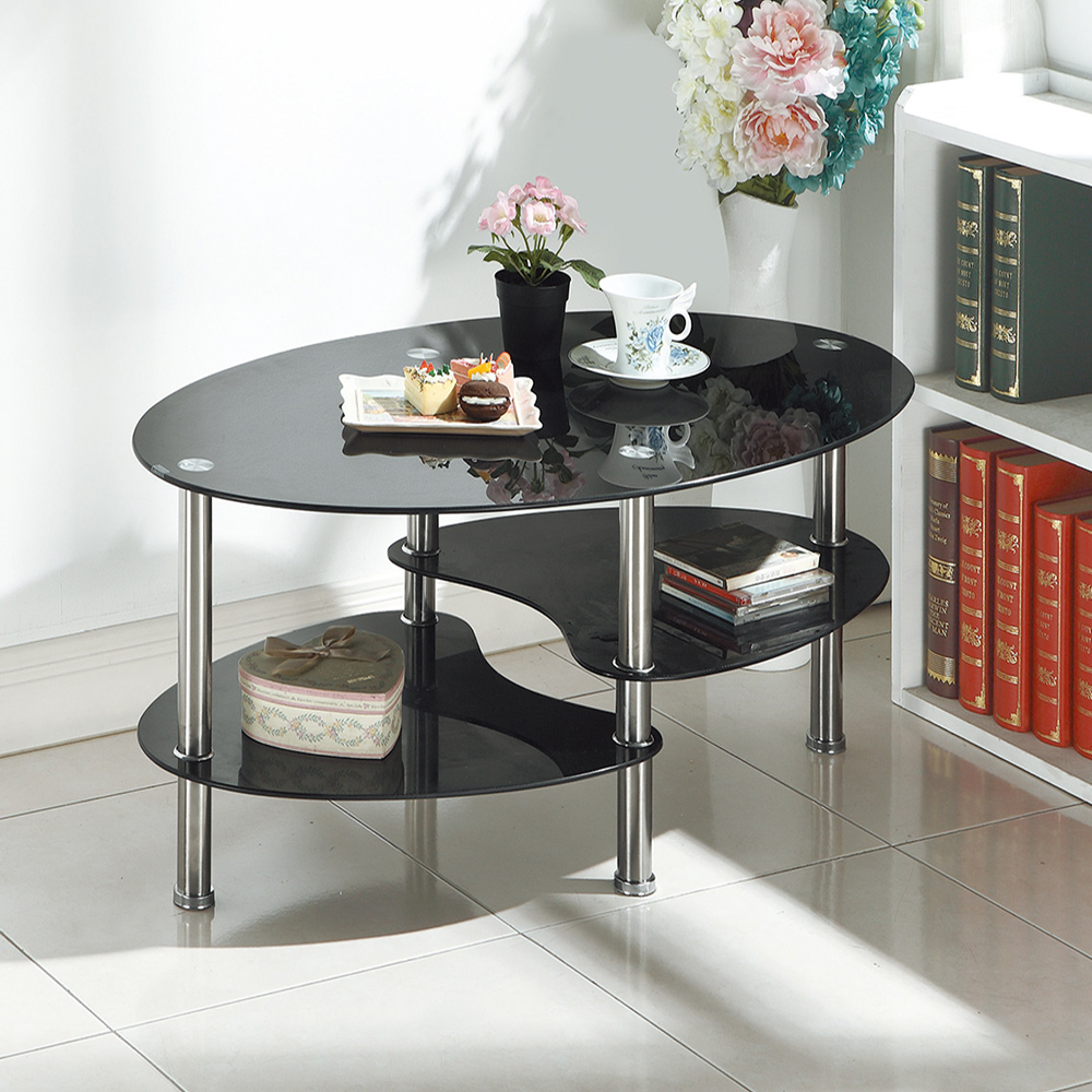 Boden-歐娜3.3尺黑色玻璃大茶几-100x60x41cm