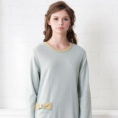 羅絲美睡衣 - 童話人生點點長袖洋裝睡衣(藍綠色)