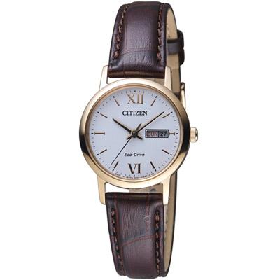 CITIZEN 星辰 知性美學時尚腕錶(EW3252-07A)-白x咖啡色錶帶/27mm