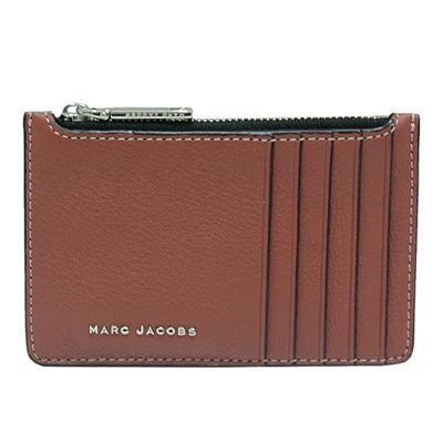 MARC JACOBS 雙色拼接多卡夾層牛皮拉鍊零錢包-咖啡/藍綠色