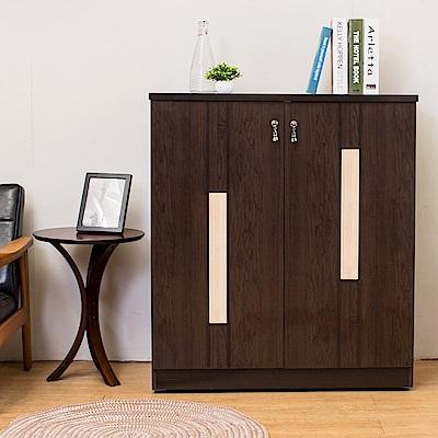 Birdie南亞塑鋼-3尺二門直飾條塑鋼鞋櫃(胡桃色+白橡色)-90x41x104cm