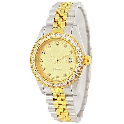 Ogival 愛其華耀眼晶鑽雙色時尚手錶-金X銀/30mm