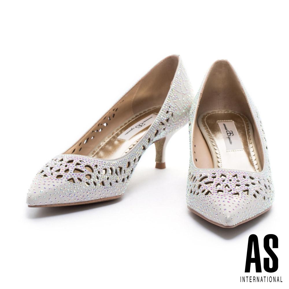 跟鞋 AS 華麗亮眼風沖孔晶鑽設計尖頭跟鞋-金