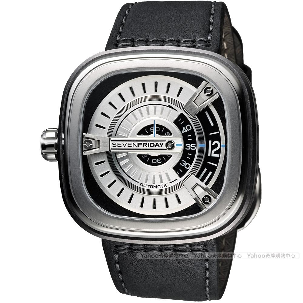 SEVENFRIDAY M1 設計師工藝自動上鍊機械錶-銀x黑/47mm