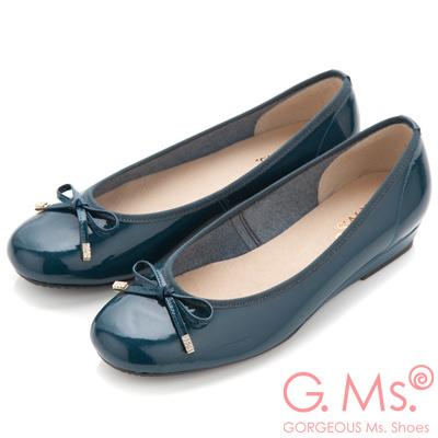 G.Ms. MIT系列-法式圓舞曲-蝴蝶結牛漆皮微坡跟娃娃鞋-優雅藍