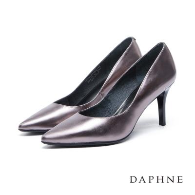 達芙妮DAPHNE 高跟鞋-全真皮點狀壓紋素面尖頭高跟鞋-錫