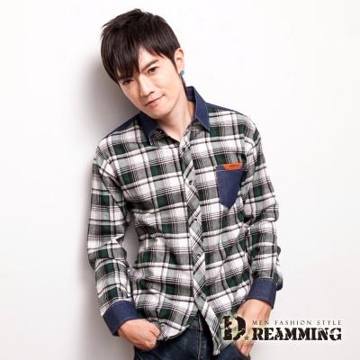 Dreamming 牛仔剪接格紋長袖休閒襯衫-共二色